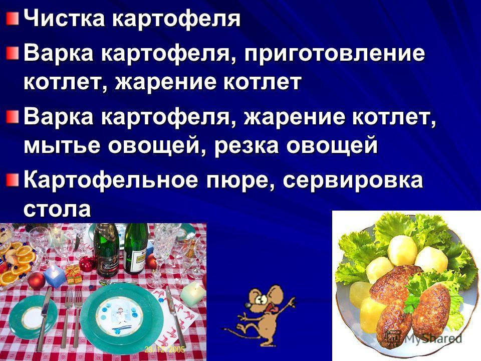 Мытье овощей – 10 мин. Резка овощей – 10 мин. Очистка картофеля – 10 мин. Варка картофеля – 30 мин. Приготовление пюре – 10 мин. Приготовление котлет из фарша – 10 м. Жарение котлет – 30 мин. Сервировка стола – 10 мин.