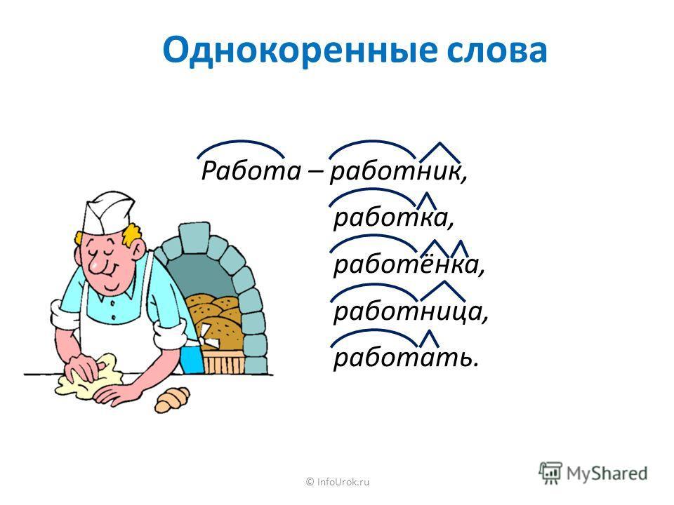 © InfoUrok.ru Однокоренные слова Работа – работник, работка, работёнка, работница, работать.