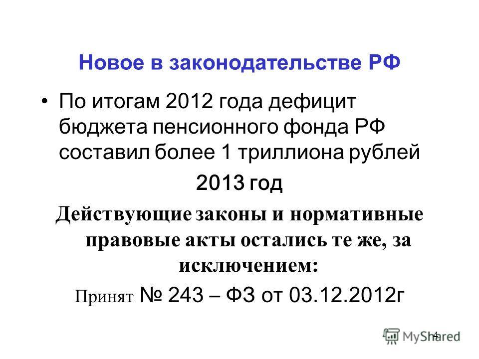 Новое в законодательстве РФ По итогам 2012 года дефицит бюджета пенсионного фонда РФ составил более 1 триллиона рублей 2013 год Действующие законы и нормативные правовые акты остались те же, за исключением: Принят 243 – ФЗ от 03.12.2012г 4