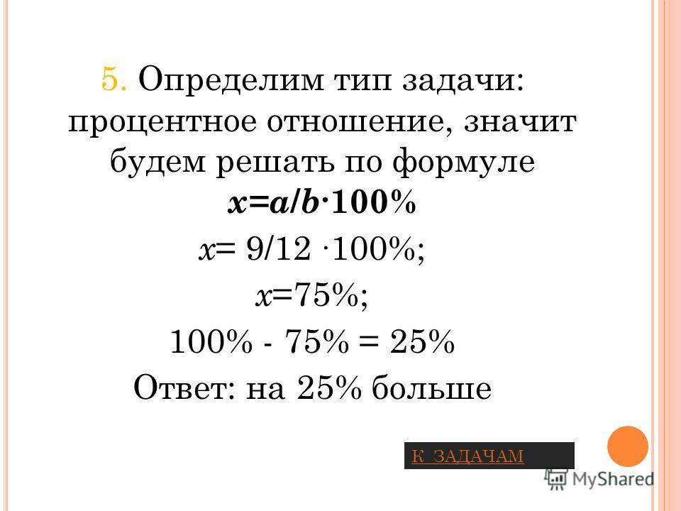 5. Определим тип задачи: процентное отношение, значит будем решать по формуле х=a / b 100% х = 9/12 100%; х =75%; 100% - 75% = 25% Ответ: на 25% больше К ЗАДАЧАМ