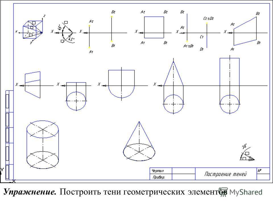 Упражнение. Построить тени геометрических элементов