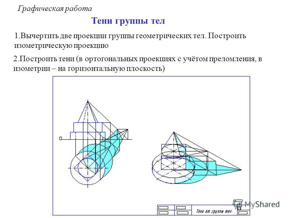 Графическая работа Тени группы тел 1.Вычертить две проекции группы геометрических тел. Построить изометрическую проекцию 2.Построить тени (в ортогональных проекциях с учётом преломления, в изометрии – на горизонтальную плоскость)