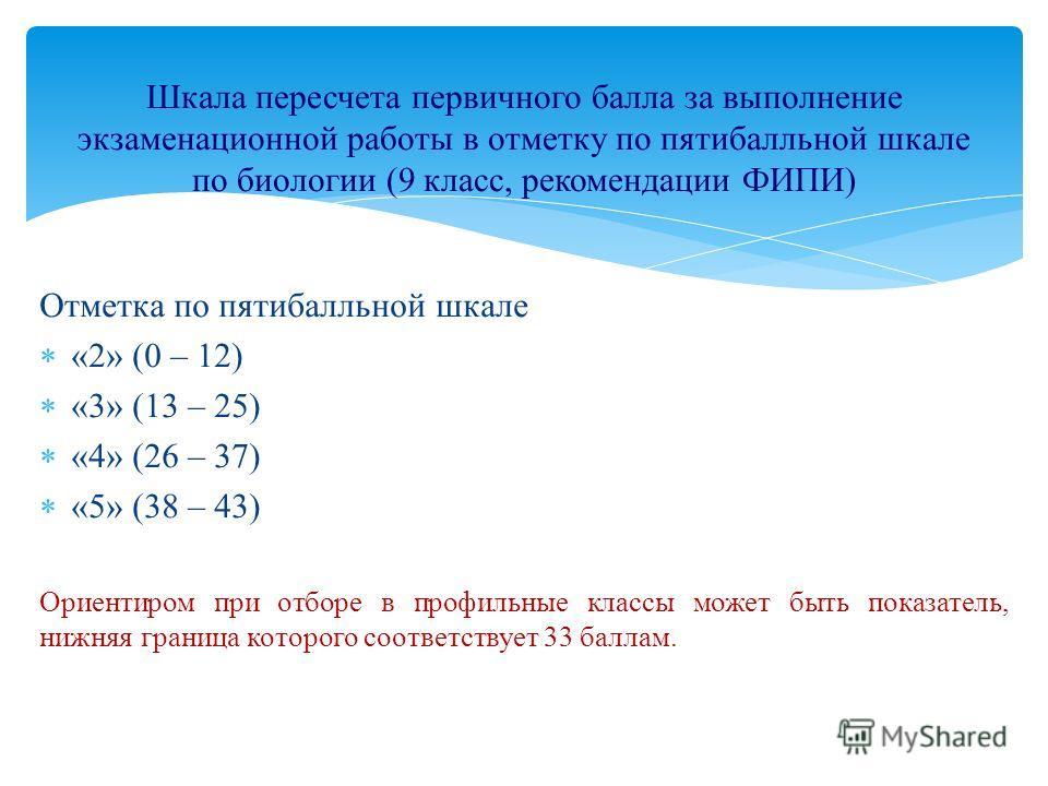 Отметка по пятибалльной шкале «2» (0 – 12) «3» (13 – 25) «4» (26 – 37) «5» (38 – 43) Ориентиром при отборе в профильные классы может быть показатель, нижняя граница которого соответствует 33 баллам. Шкала пересчета первичного балла за выполнение экза