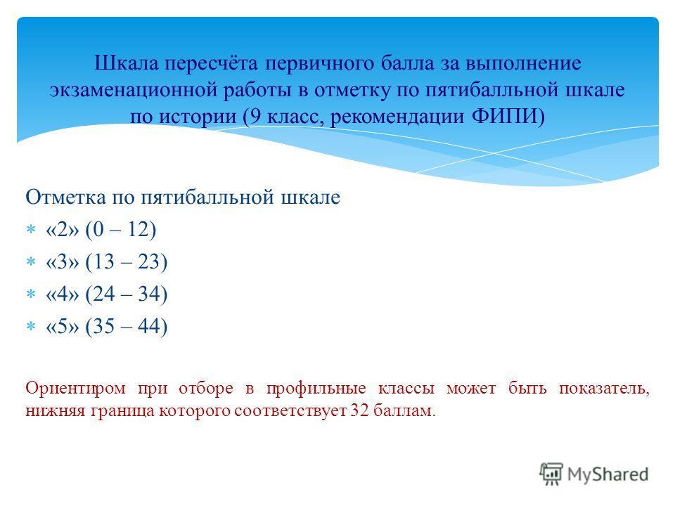 Отметка по пятибалльной шкале «2» (0 – 12) «3» (13 – 23) «4» (24 – 34) «5» (35 – 44) Ориентиром при отборе в профильные классы может быть показатель, нижняя граница которого соответствует 32 баллам. Шкала пересчёта первичного балла за выполнение экза