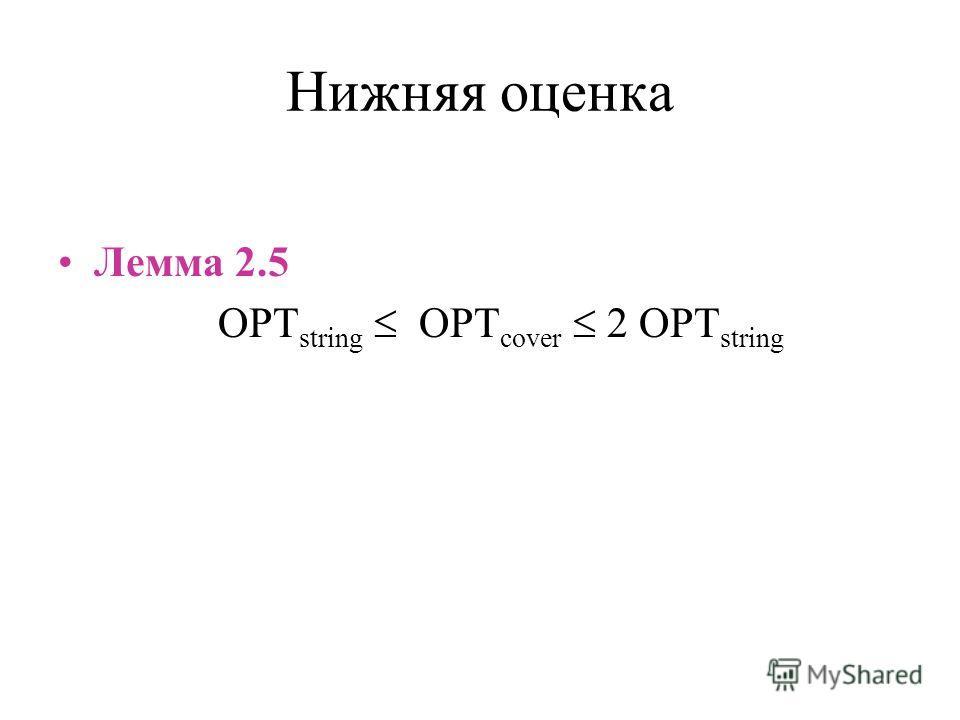 Нижняя оценка Лемма 2.5 OPT string OPT cover 2 OPT string