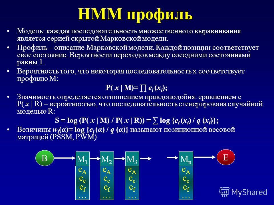 HMM профиль Модель: каждая последовательность множественного выравнивания является серией скрытой Марковской модели. Профиль – описание Марковской модели. Каждой позиции соответствует свое состояние. Вероятности переходов между соседними состояниями