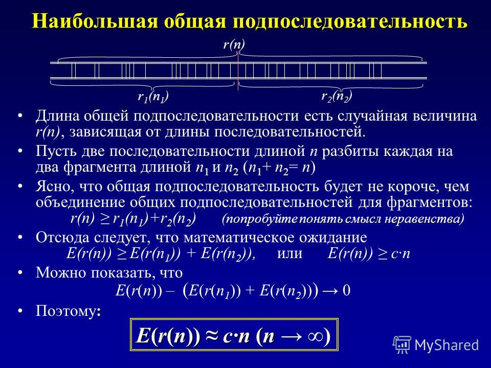Наибольшая общая подпоследовательность Длина общей подпоследовательности есть случайная величина r(n), зависящая от длины последовательностей. Пусть две последовательности длиной n разбиты каждая на два фрагмента длиной n 1 и n 2 (n 1 + n 2 = n) Ясно