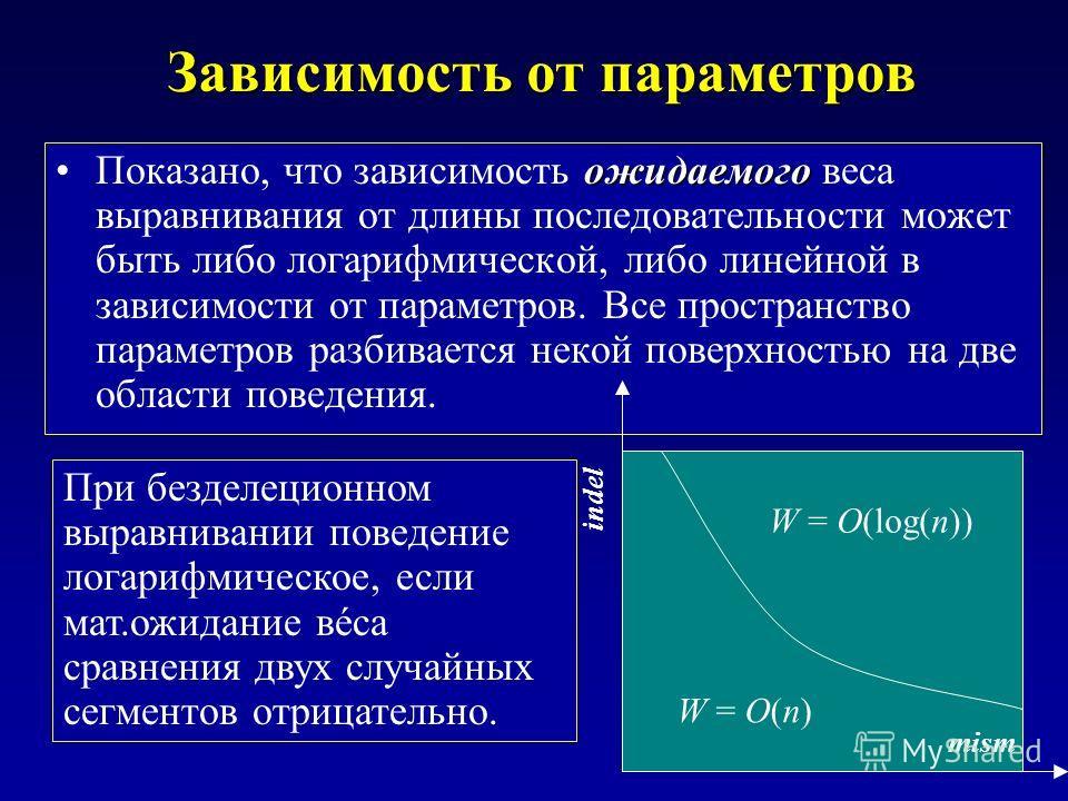 Зависимость от параметров ожидаемогоПоказано, что зависимость ожидаемого веса выравнивания от длины последовательности может быть либо логарифмической, либо линейной в зависимости от параметров. Все пространство параметров разбивается некой поверхнос