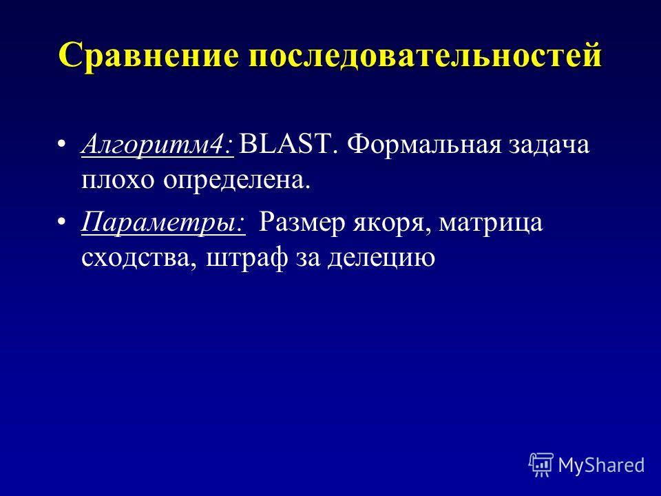 Сравнение последовательностей Алгоритм4: BLAST. Формальная задача плохо определена. Параметры: Размер якоря, матрица сходства, штраф за делецию