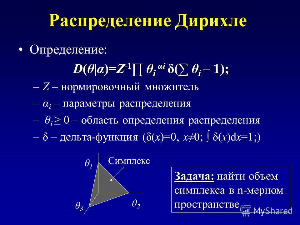 Распределение Дирихле Определение: D(θ|α)=Z -1 θ i αi δ( θ i – 1); –Z – нормировочный множитель –α i – параметры распределения – θ i 0 – область определения распределения –δ – дельта-функция (δ(x)=0, x0; δ(x)dx=1;) θ1θ1 θ2θ2 θ3θ3 Симплекс Задача: най