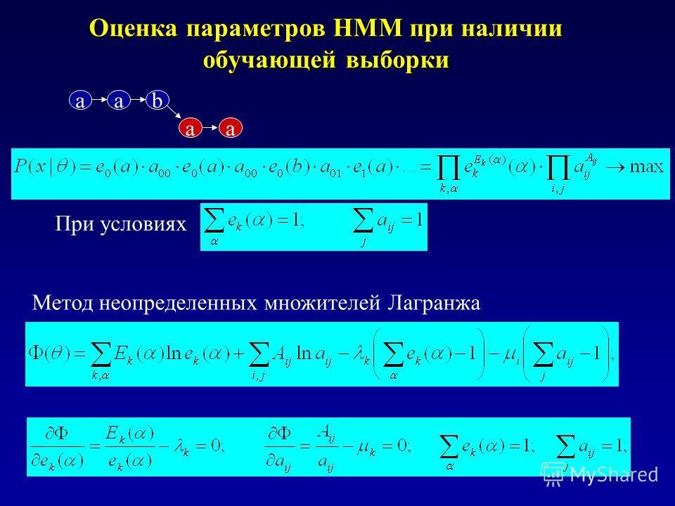 Оценка параметров HMM при наличии обучающей выборки При условиях Метод неопределенных множителей Лагранжа aab aa