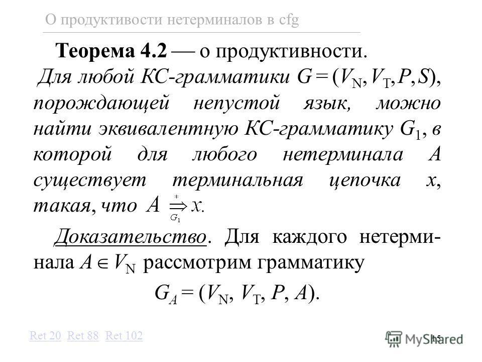 15 О продуктивости нетерминалов в cfg Теорема 4.2 о продуктивности. Для любой КС-грамматики G=(V N,V T,P,S), порождающей непустой язык, можно найти эквивалентную КС-грамматику G 1, в которой для любого нетерминала A существует терминальная цепочка x,