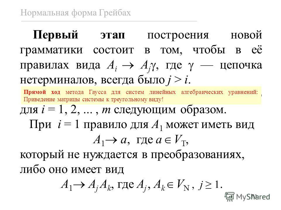 73 Первый этап построения новой грамматики состоит в том, чтобы в её правилах вида A i A j, где цепочка нетерминалов, всегда было j > i. Этот шаг выполняется последовательно для i = 1, 2,..., m следующим образом. При i = 1 правило для A 1 может иметь