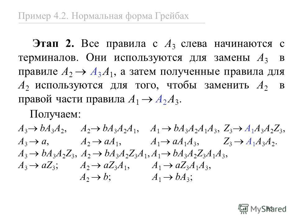 85 Этап 2. Все правила с A 3 слева начинаются с терминалов. Они используются для замены A 3 в правиле A 2 A 3 A 1, а затем полученные правила для A 2 используются для того, чтобы заменить A 2 в правой части правила A 1 A 2 A 3. Получаем: A 3 bA 3 A 2