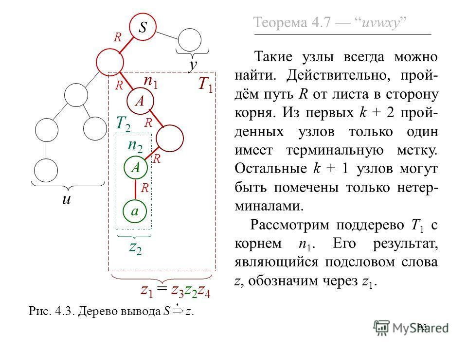 93 Такие узлы всегда можно найти. Действительно, прой- дём путь R от листа в сторону корня. Из первых k + 2 прой- денных узлов только один имеет терминальную метку. Остальные k + 1 узлов могут быть помечены только нетер- миналами. Рассмотрим поддерев