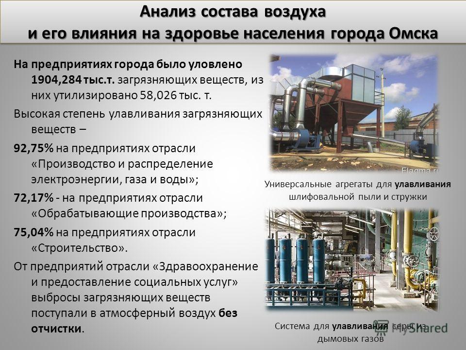 На предприятиях города было уловлено 1904,284 тыс.т. загрязняющих веществ, из них утилизировано 58,026 тыс. т. Высокая степень улавливания загрязняющих веществ – 92,75% на предприятиях отрасли «Производство и распределение электроэнергии, газа и воды