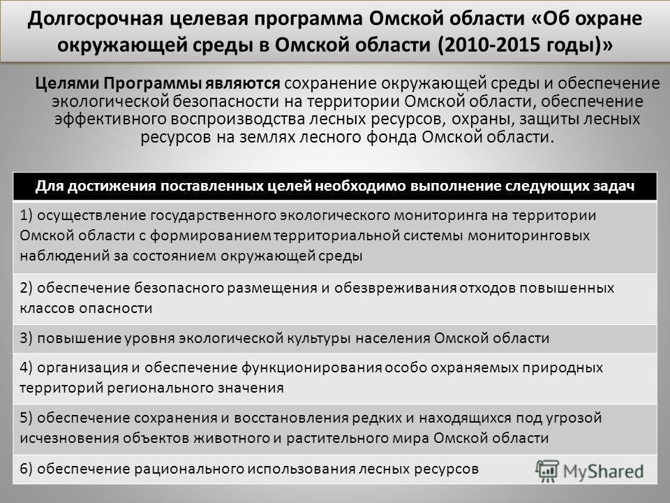 Целями Программы являются сохранение окружающей среды и обеспечение экологической безопасности на территории Омской области, обеспечение эффективного воспроизводства лесных ресурсов, охраны, защиты лесных ресурсов на землях лесного фонда Омской облас