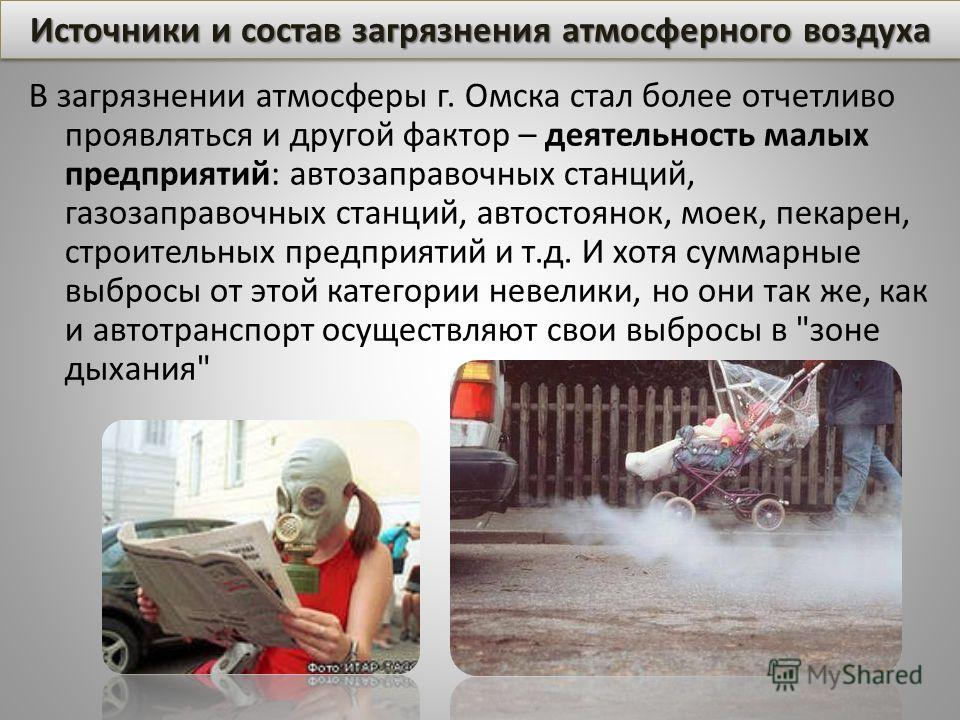 В загрязнении атмосферы г. Омска стал более отчетливо проявляться и другой фактор – деятельность малых предприятий: автозаправочных станций, газозаправочных станций, автостоянок, моек, пекарен, строительных предприятий и т.д. И хотя суммарные выбросы