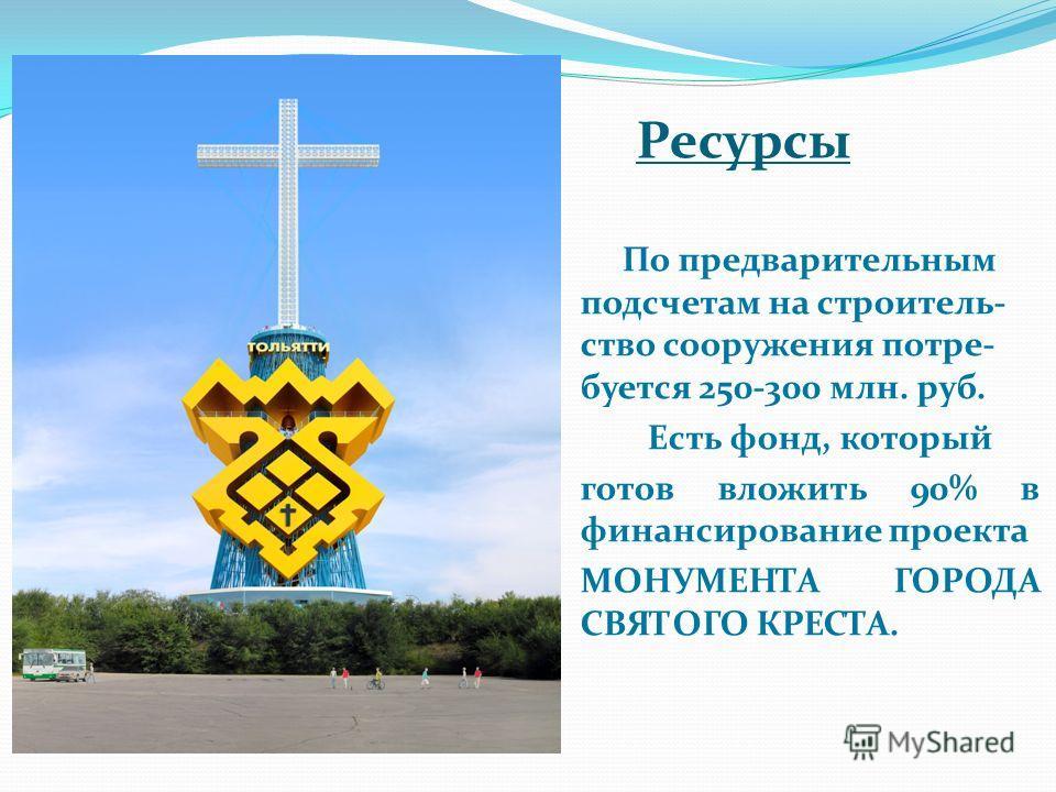 Ресурсы По предварительным подсчетам на строитель- ство сооружения потре- буется 250-300 млн. руб. Есть фонд, который готов вложить 90% в финансирование проекта МОНУМЕНТА ГОРОДА СВЯТОГО КРЕСТА.