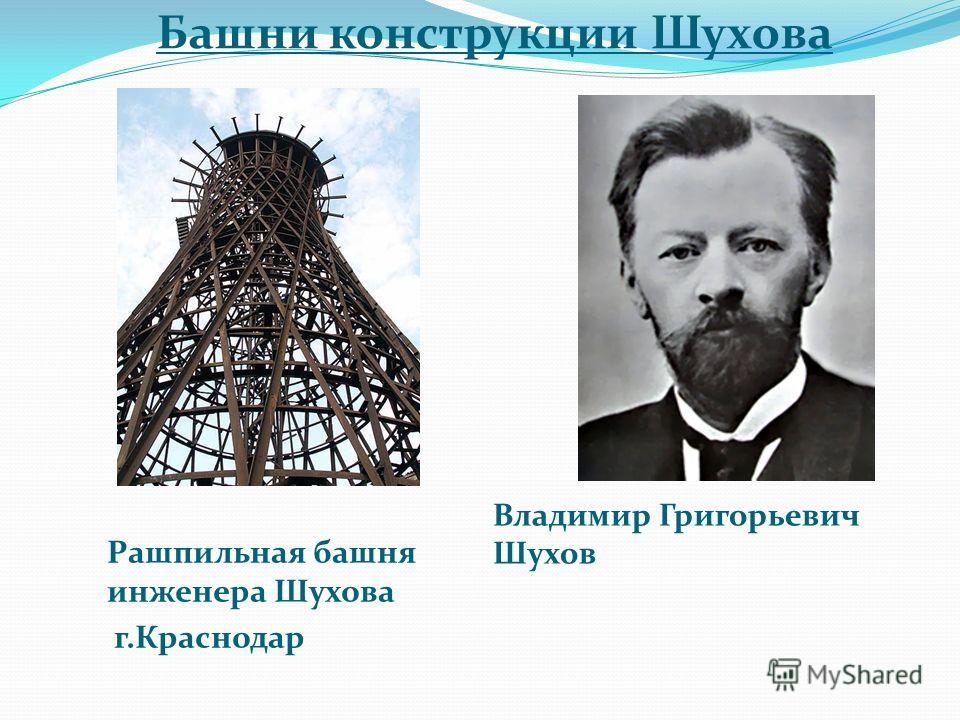 Башни конструкции Шухова Рашпильная башня инженера Шухова г.Краснодар Владимир Григорьевич Шухов