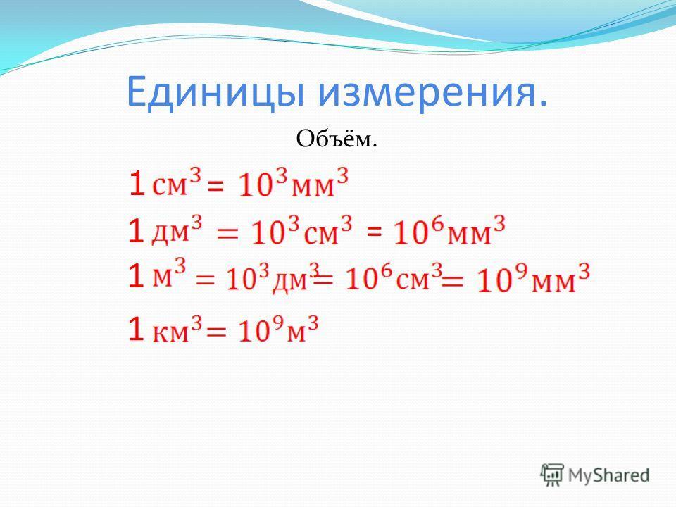 Единицы измерения. Объём. 1 1 = = 1 1