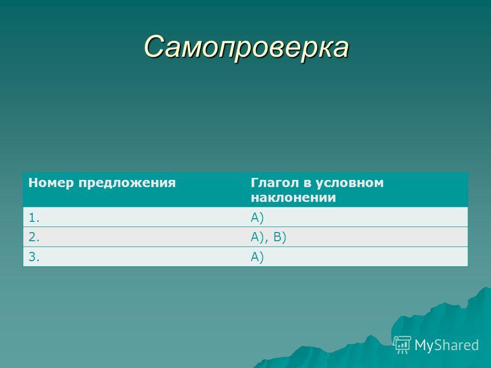 Самопроверка Номер предложенияГлагол в условном наклонении 1.А) 2.А), В) 3.А)