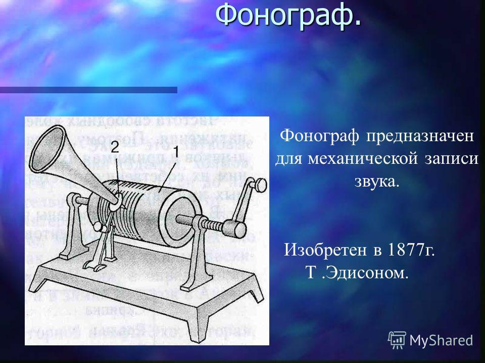 Фонограф. Фонограф. Фонограф предназначен для механической записи звука. Изобретен в 1877г. Т.Эдисоном.