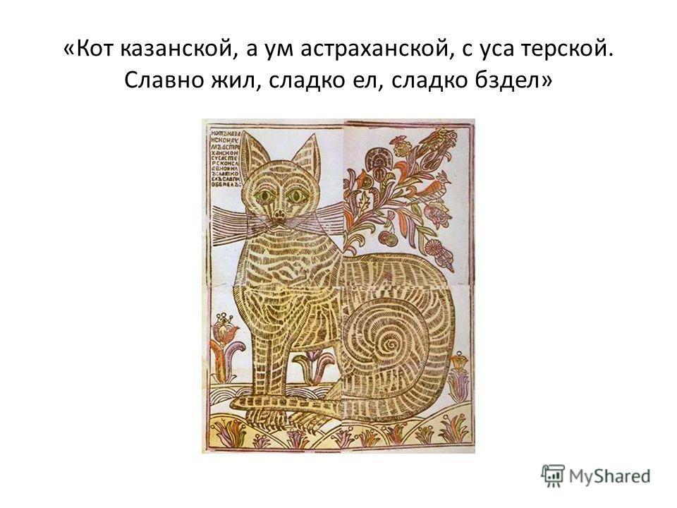 «Кот казанской, а ум астраханской, с уса терской. Славно жил, сладко ел, сладко бздел»
