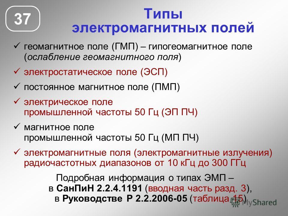 Типы электромагнитных полей геомагнитное поле (ГМП) – гипогеомагнитное поле (ослабление геомагнитного поля) электростатическое поле (ЭСП) постоянное магнитное поле (ПМП) электрическое поле промышленной частоты 50 Гц (ЭП ПЧ) магнитное поле промышленно
