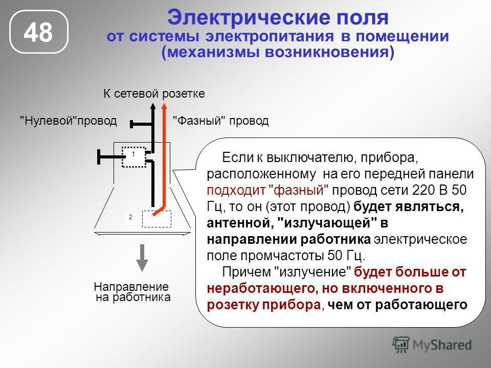 Электрические поля от системы электропитания в помещении (механизмы возникновения) 48 1 2