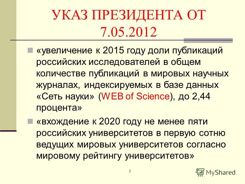УКАЗ ПРЕЗИДЕНТА ОТ 7.05.2012 «увеличение к 2015 году доли публикаций российских исследователей в общем количестве публикаций в мировых научных журналах, индексируемых в базе данных «Сеть науки» (WEB of Science), до 2,44 процента» «вхождение к 2020 го