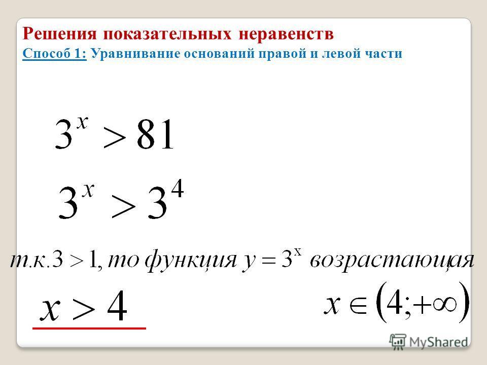 Решения показательных неравенств Способ 1: Уравнивание оснований правой и левой части
