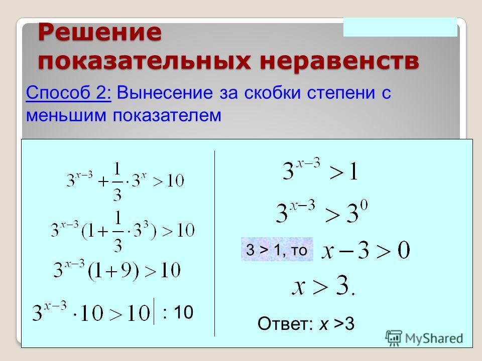 Решение показательных неравенств Способ 2: Вынесение за скобки степени с меньшим показателем Ответ: х >3 3 > 1, то : 10