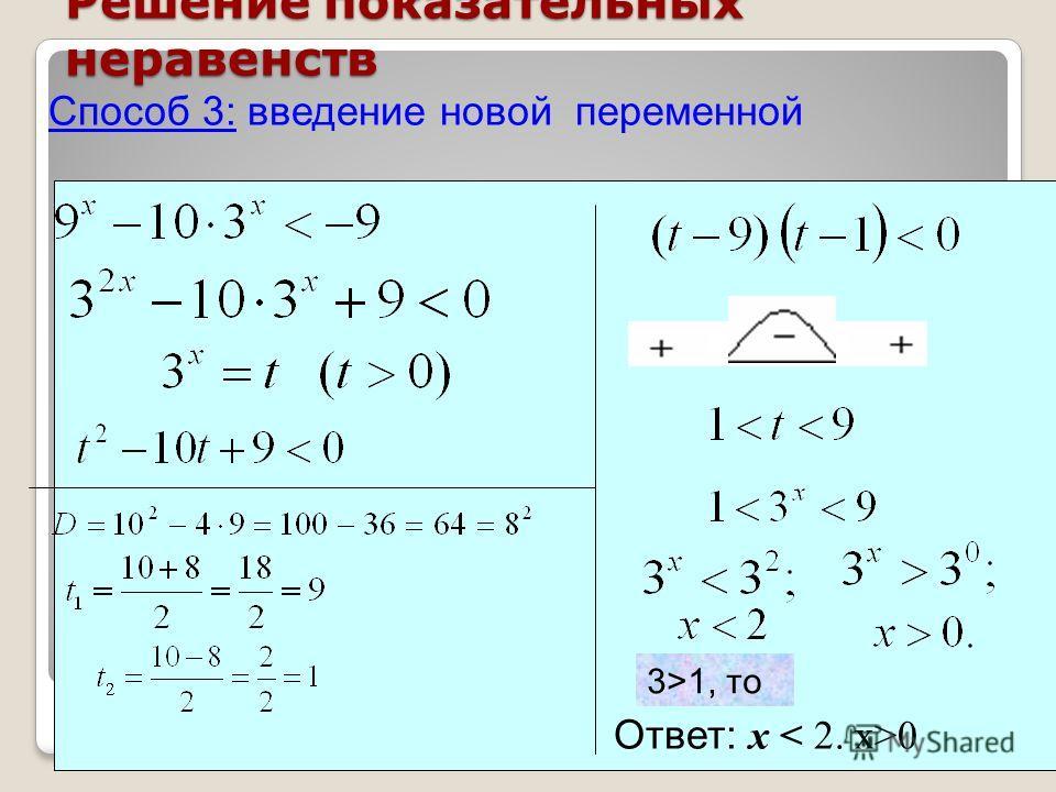 Решение показательных неравенств Способ 3: введение новой переменной Ответ: х 0 3>1, то