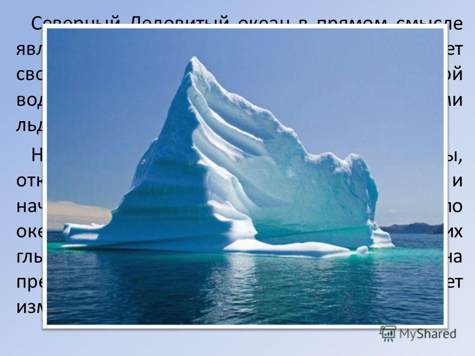 Северный Ледовитый океан в прямом смысле является ледовитым и полностью оправдывает своё название. Большая часть его огромной водной поверхности покрыта дрейфующими льдами. Нередки здесь айсберги – огромные льдины, откалывающиеся от шельфовых леднико