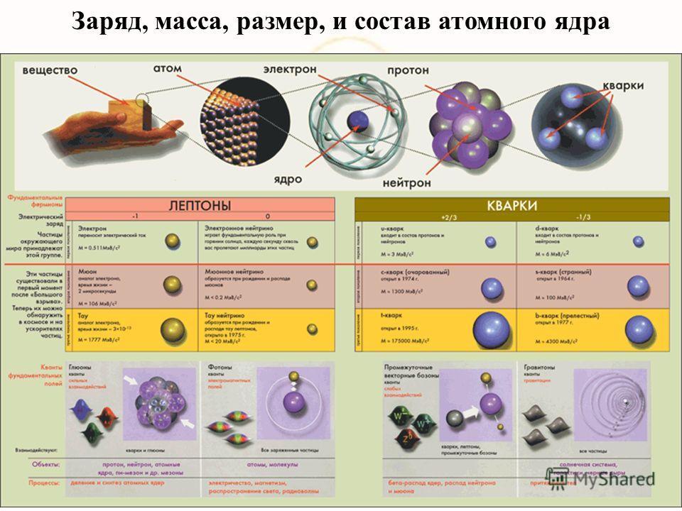 Заряд, масса, размер, и состав атомного ядра