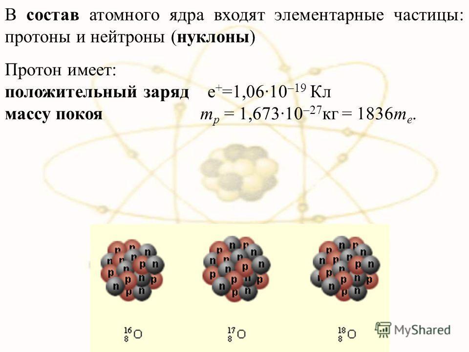 В состав атомного ядра входят элементарные частицы: протоны и нейтроны (нуклоны) Протон имеет: положительный заряд е + =1,06·10 –19 Кл массу покоя m p = 1,673·10 –27 кг = 1836m e.