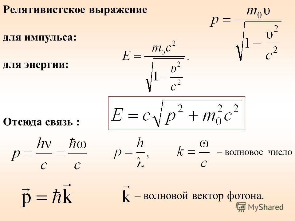 Релятивистское выражение для импульса: для энергии: Отсюда связь : – волновой вектор фотона. – волновое число