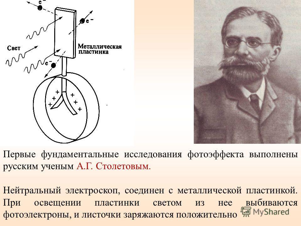 Первые фундаментальные исследования фотоэффекта выполнены русским ученым А.Г. Столетовым. Нейтральный электроскоп, соединен с металлической пластинкой. При освещении пластинки светом из нее выбиваются фотоэлектроны, и листочки заряжаются положительно