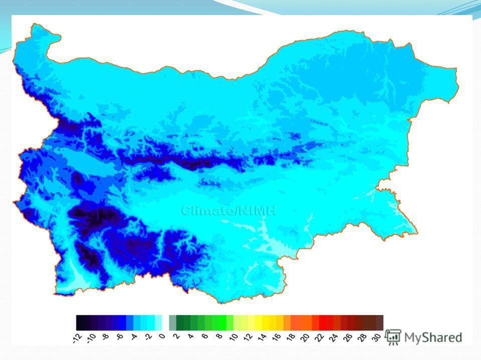Климат Болгарии Средняя температура зимой от -2°С до +2°С. В мае - +20°С, в июне и сентябре - +25°С, в июле и августе - +26-28°С. Среднегодовая температура составляет около 12- 13°С.