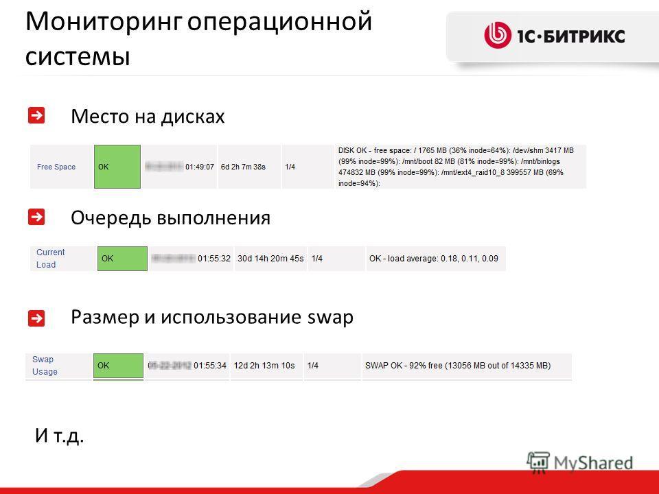 Мониторинг операционной системы Место на дисках Очередь выполнения Размер и использование swap И т.д.