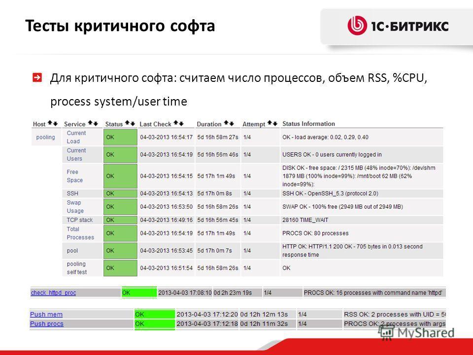 Тесты критичного софта Для критичного софта: считаем число процессов, объем RSS, %CPU, process system/user time