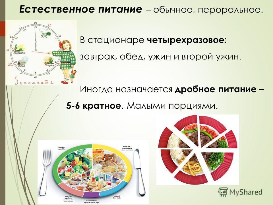 В стационаре четырехразовое: завтрак, обед, ужин и второй ужин. Иногда назначается дробное питание – 5-6 кратное. Малыми порциями. Естественное питание – обычное, пероральное.