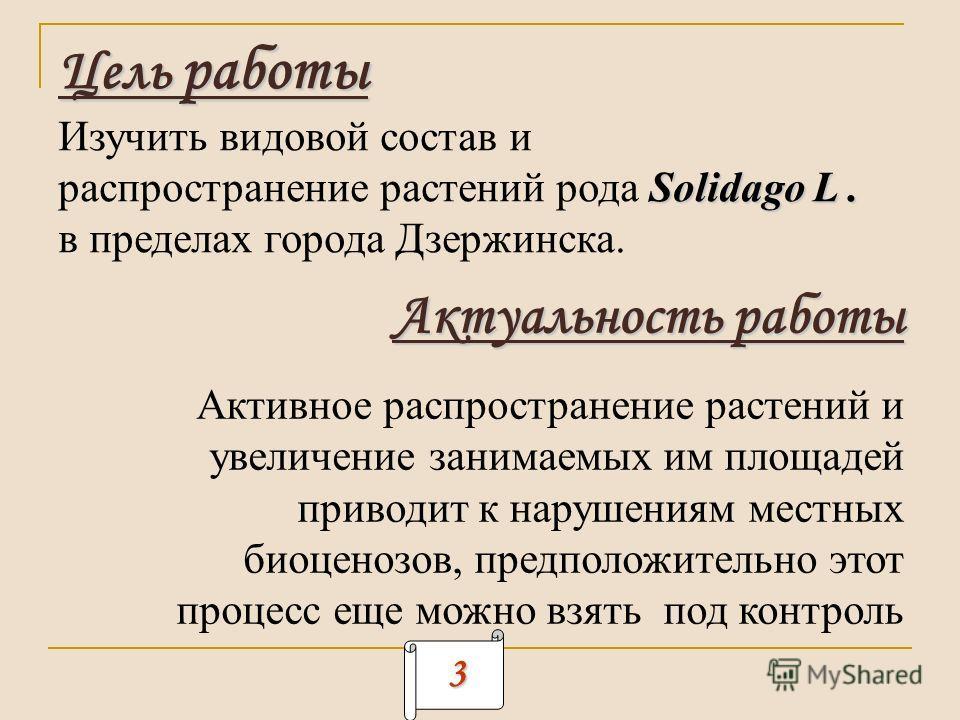 Цель работы Изучить видовой состав и Solidago L. распространение растений рода Solidago L. в пределах города Дзержинска. Актуальность работы Активное распространение растений и увеличение занимаемых им площадей приводит к нарушениям местных биоценозо