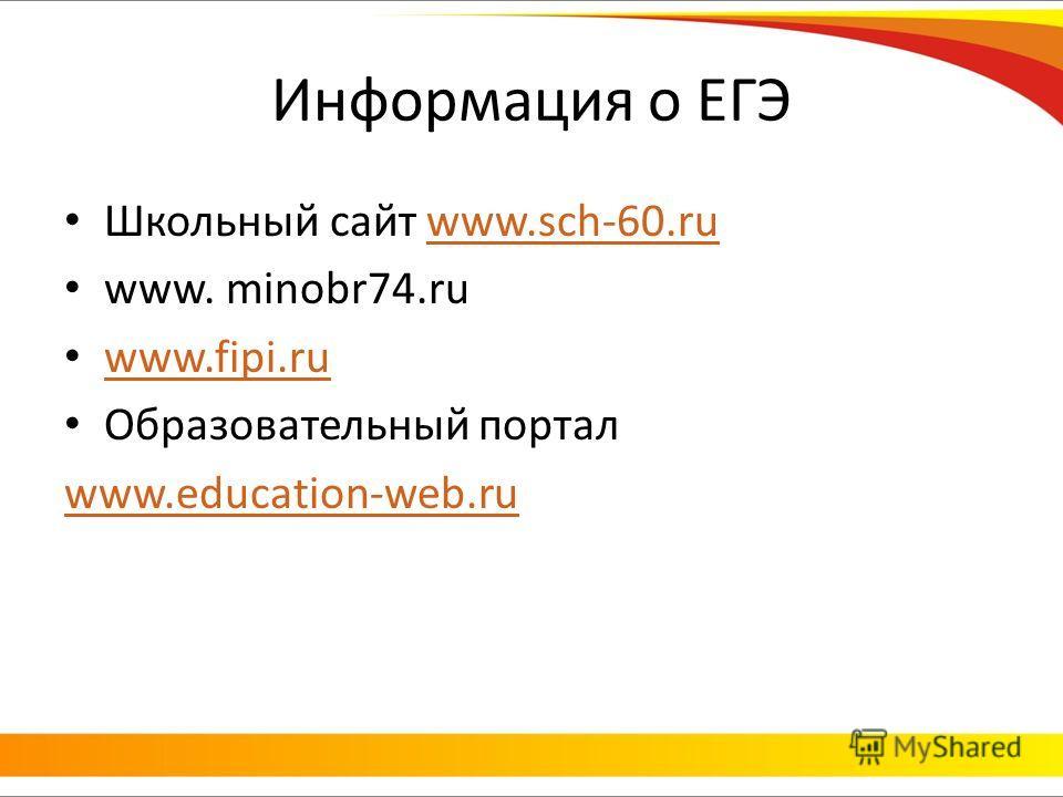 Информация о ЕГЭ Школьный сайт www.sch-60.ruwww.sch-60.ru www. minobr74.ru www.fipi.ru Образовательный портал www.education-web.ru