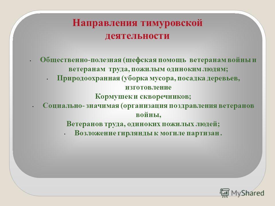 Направления тимуровской деятельности Общественно-полезная (шефская помощь ветеранам войны и ветеранам труда, пожилым одиноким людям; Природоохранная (уборка мусора, посадка деревьев, изготовление Кормушек и скворечников; Социально- значимая (организа