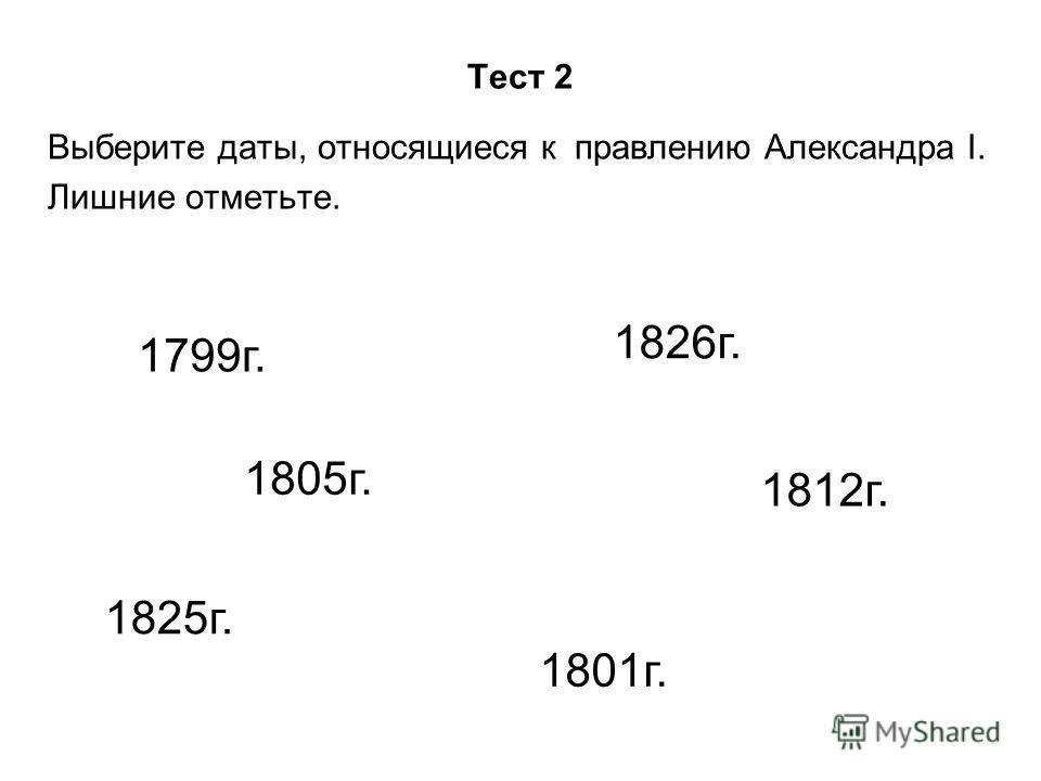 Тест 2 Выберите даты, относящиеся к правлению Александра I. Лишние отметьте. 1799г. 1826г. 1825г. 1801г. 1805г. 1812г.