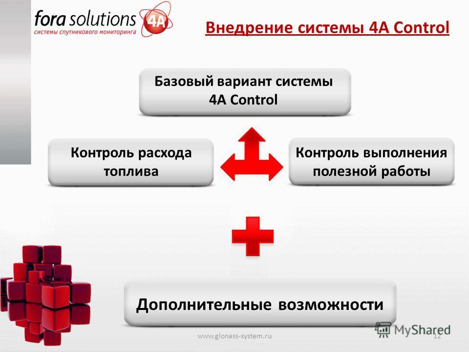 Внедрение системы 4A Control Базовый вариант системы 4А Control Контроль выполнения полезной работы Контроль расхода топлива Дополнительные возможности www.glonass-system.ru12