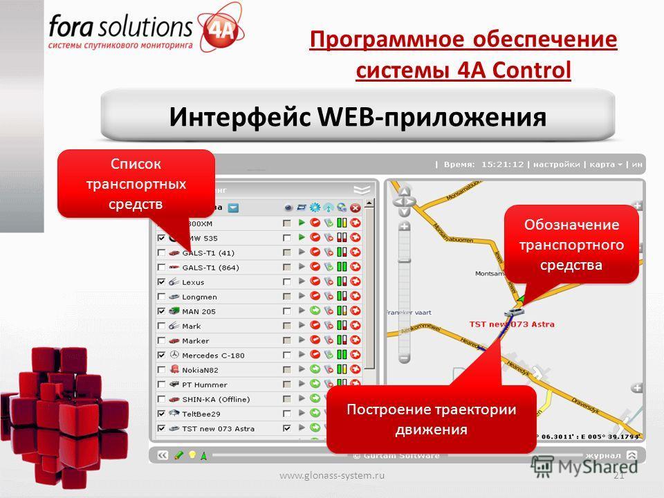 Программное обеспечение системы 4A Control Интерфейс WEB-приложения Обозначение транспортного средства Построение траектории движения Список транспортных средств www.glonass-system.ru21