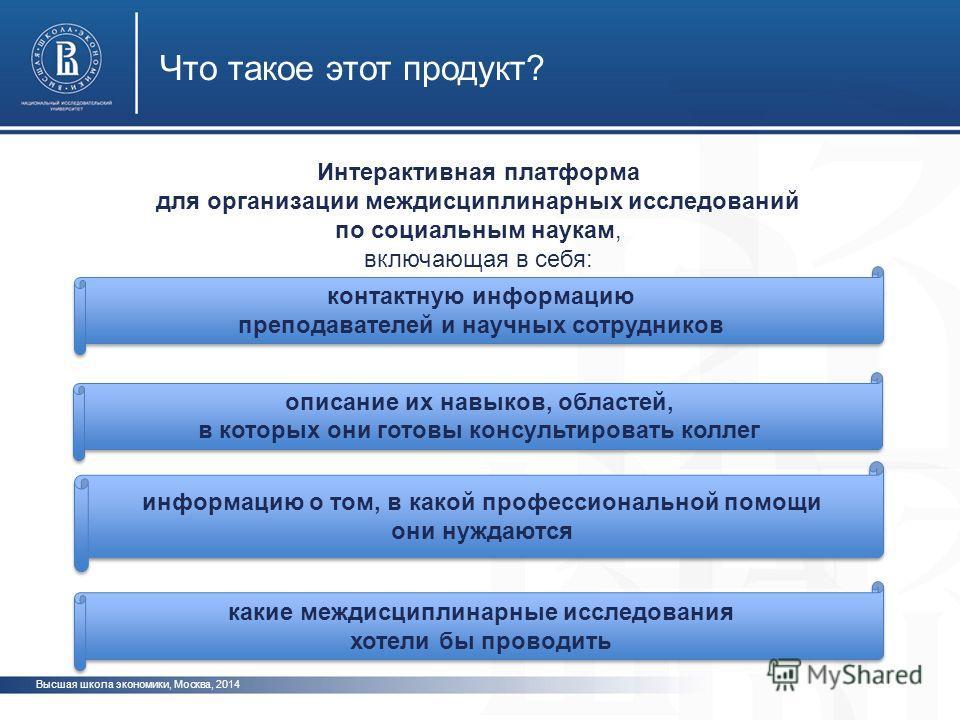 Высшая школа экономики, Москва, 2014 Что такое этот продукт? Интерактивная платформа для организации междисциплинарных исследований по социальным наукам, включающая в себя: информацию о том, в какой профессиональной помощи они нуждаются информацию о